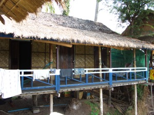 Bamboo shacks Laos